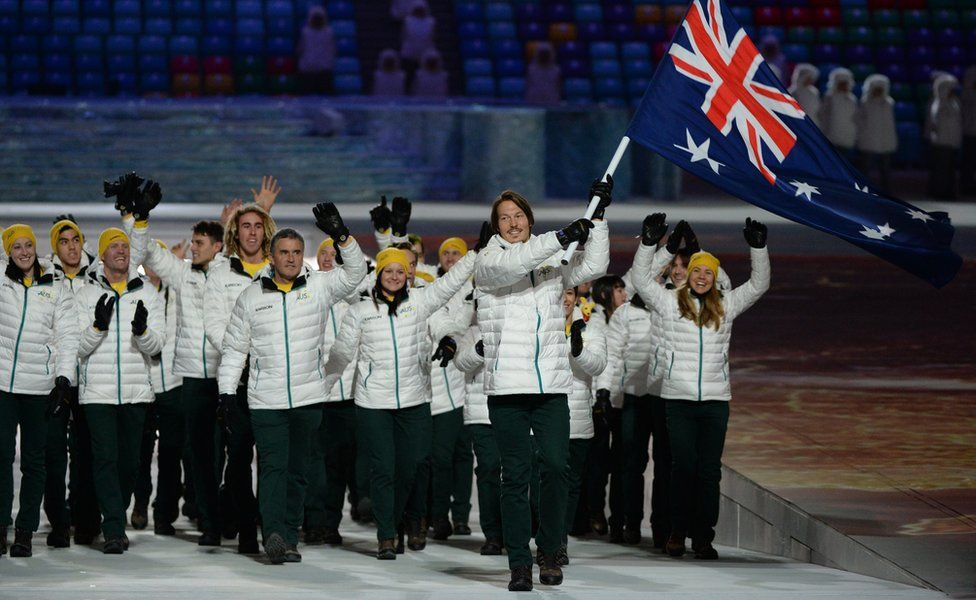 Alex Pullin leads the Australian team at the Opening Ceremony of the 2014 Winter Olympics