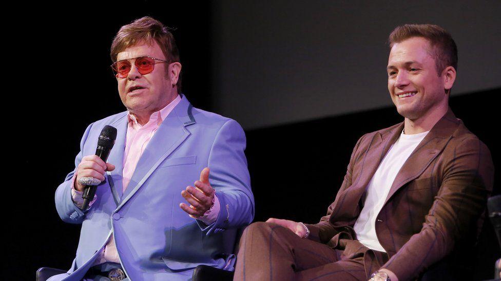 Elton John and Taron Egerton at a special screening Q&A in support of Rocketman