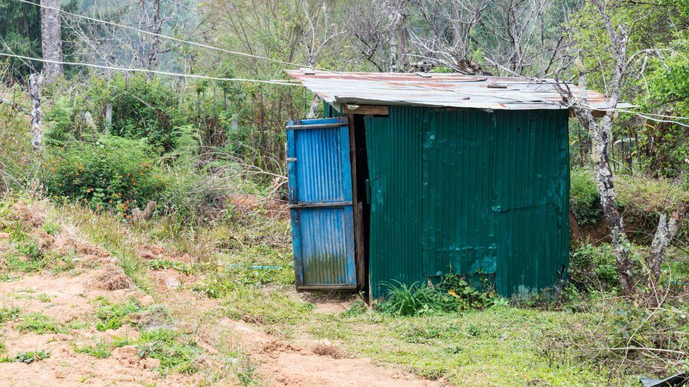 a corrugated tin outhouse