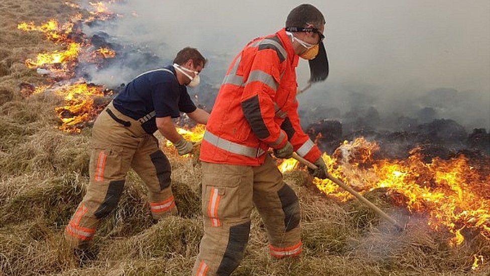 Lyme Park: Fire crews fight National Trust moorland blaze