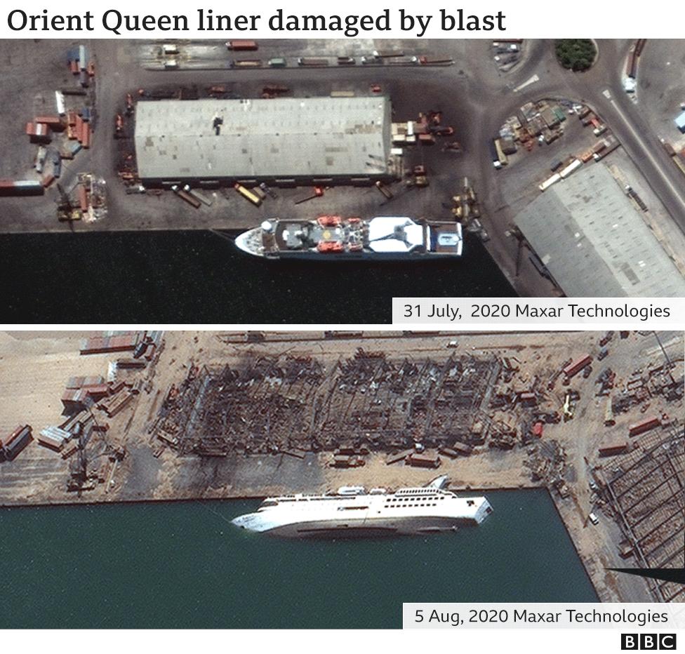 Ship damaged by blast