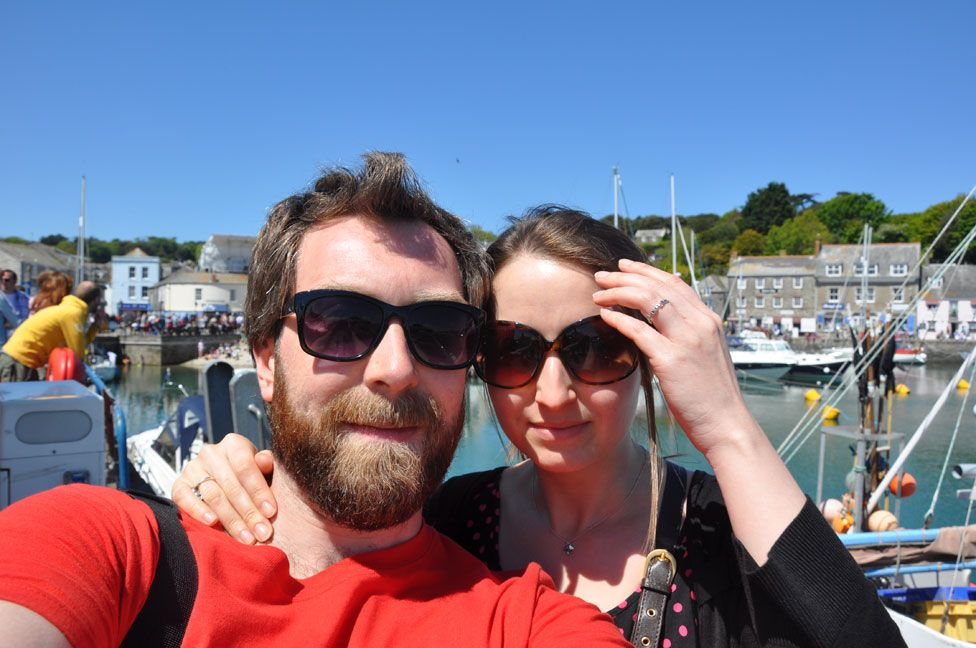 Ellie Finch Hulme and her husband Tom in Cornwall