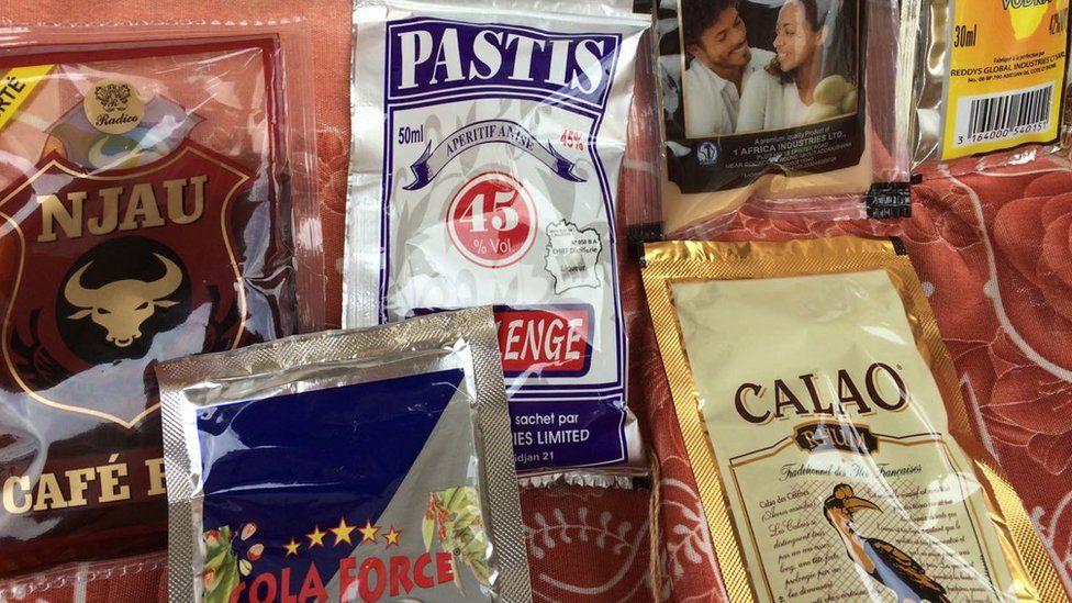 Alcohol sachets in Ivory Coast