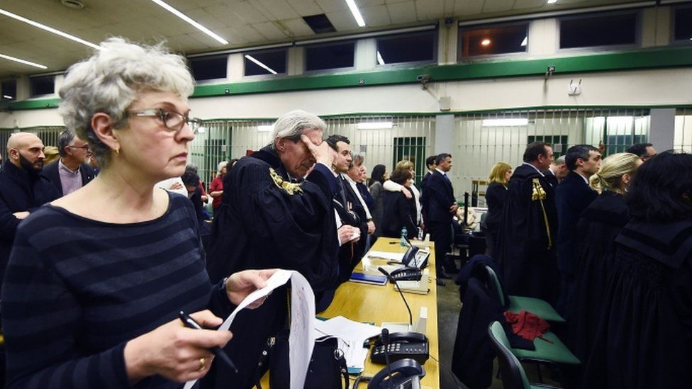 """Lawyers react to the sentence read by the judges of the Third Court of Rome during the trial of South American military officers and civilians accused of collaborating in the forced disappearances and murder of Italian nationals, in a US-backed regional plan dubbed """"Operation Condor. Jan 2017"""