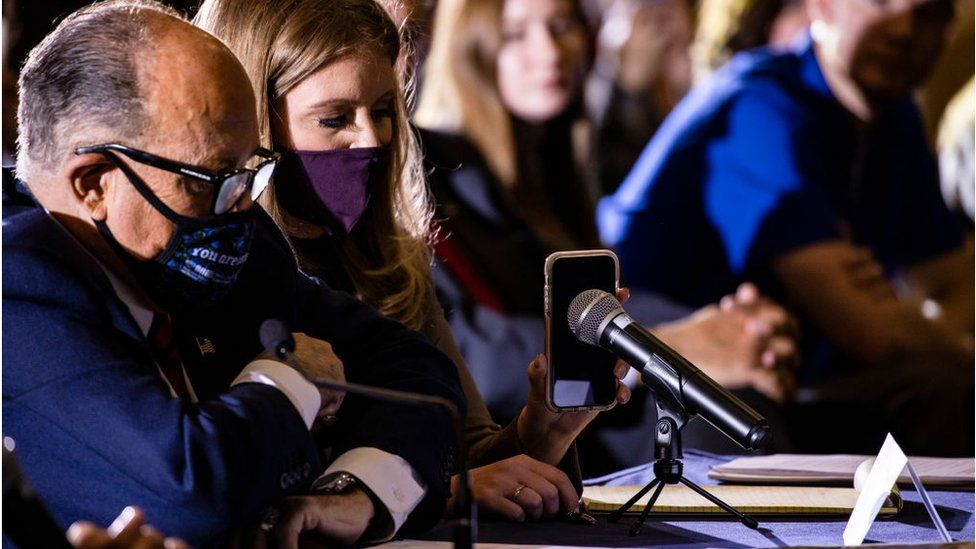 Rudolph Giuliani, shown in Pennsylvania with lawyer Jenna Ellis, leads the president's effort to challenge the election