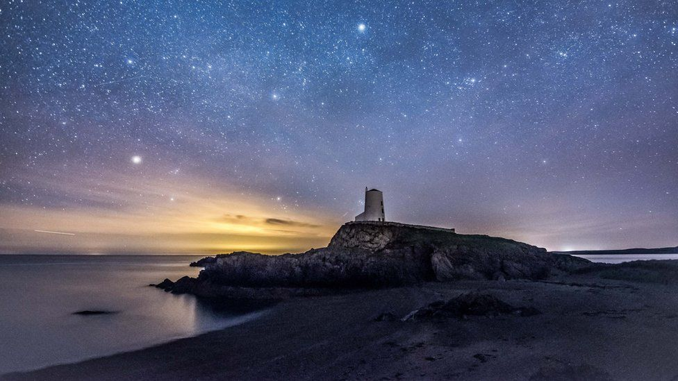 Ynys Llanddwyn lighthouse on the Anglesey coast