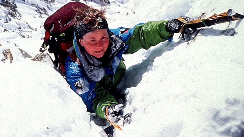 Alison Hargreaves during her successful attempt to become the first woman to climb Everest