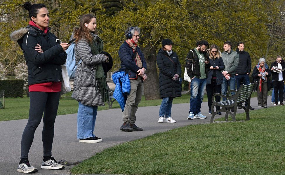 People queuing for tests in Brockwell Park