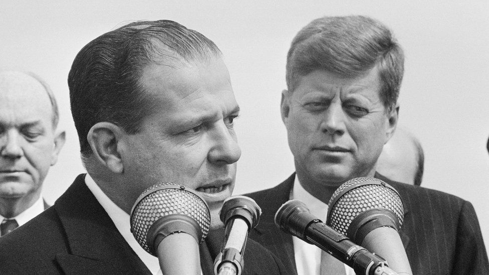 João Goulart speaks to the press at Andrews Air Force Base, standing next to him is US President President John F Kennedy. April 1962.