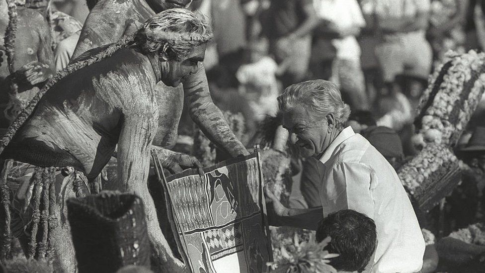 Then Australian PM Bob Hawke receives the Barunga statement requesting a treaty from Indigenous leaders in the Northern Territory in 1988