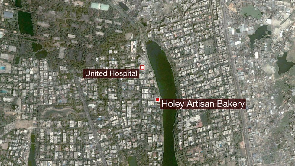 Map of Dhaka showing location of Holey Artisan Bakery