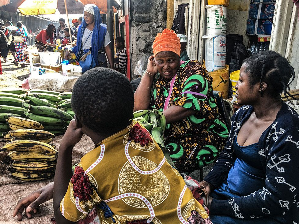 Vendors at a street market in Goma