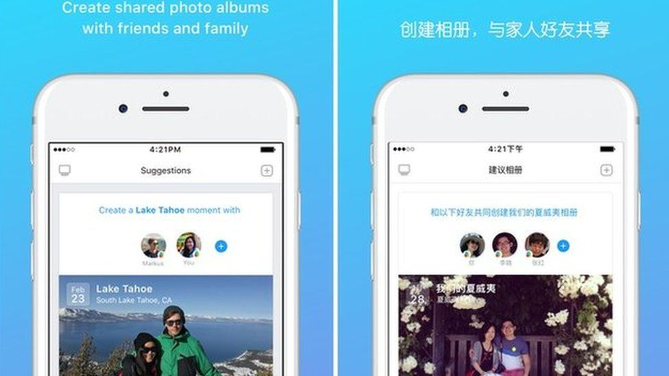 Facebook Moment app on iTunes in the US and China