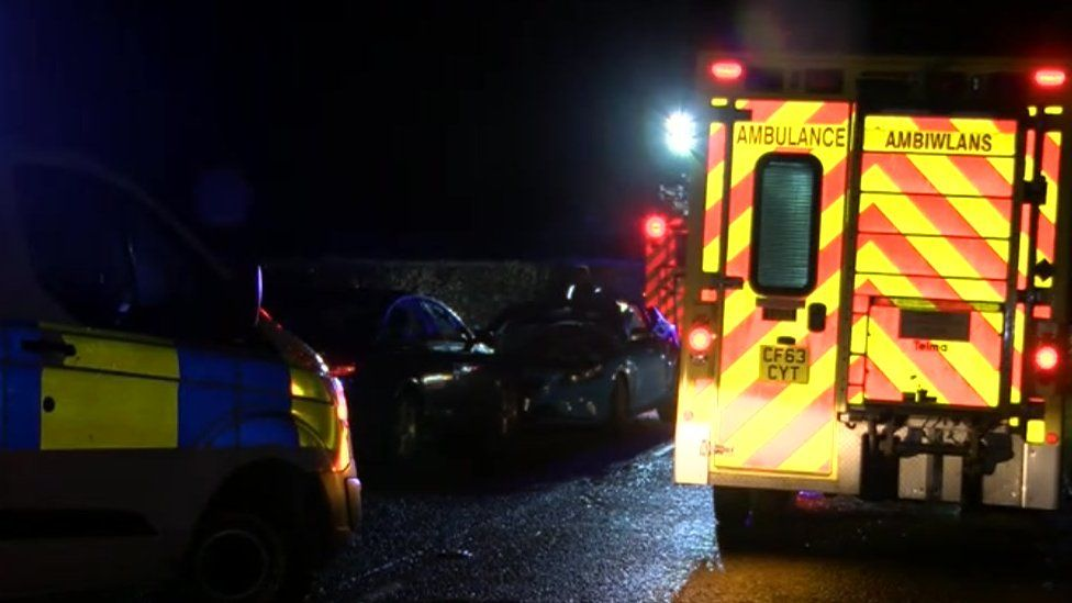Police and ambulance at accident near Pontyclun