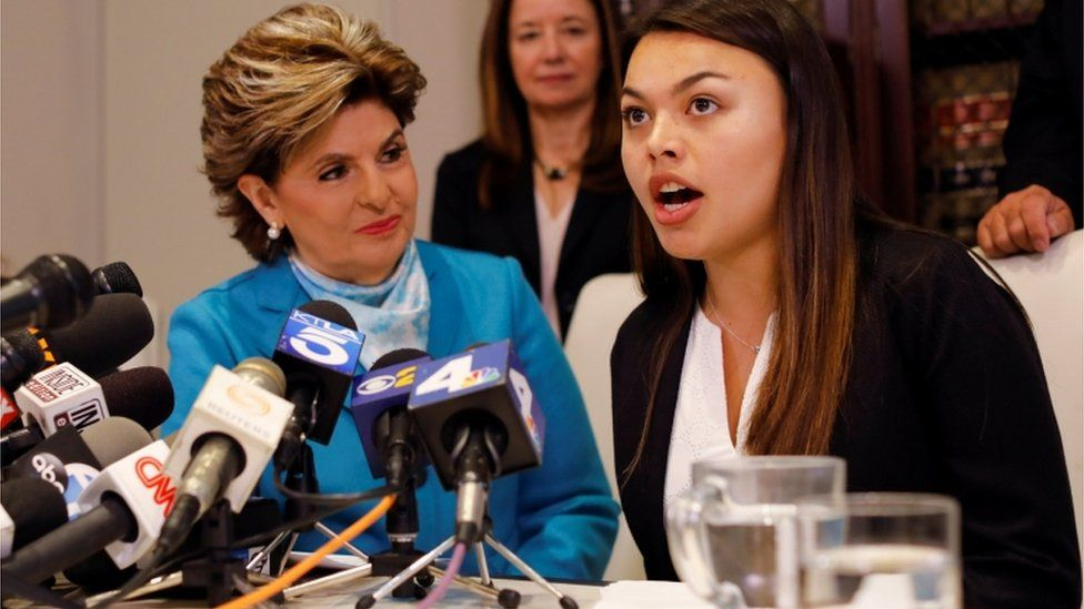 Attorney Gloria Allred (left) and her client Danielle Mohazab speaking out about an alleged incident with Mr Tyndall during a news conference earlier this year.