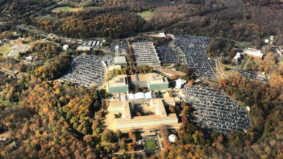 Aerial image of George Bush Center for Intelligence, the headquarters of the Central Intelligence Agency (the CIA), located in Langley in Virginia