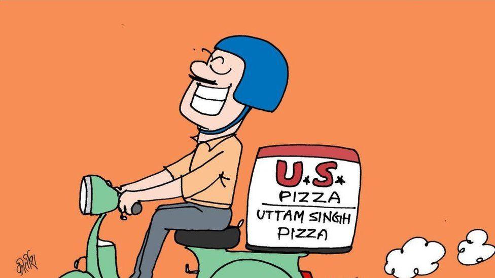 US pizza in cartoon