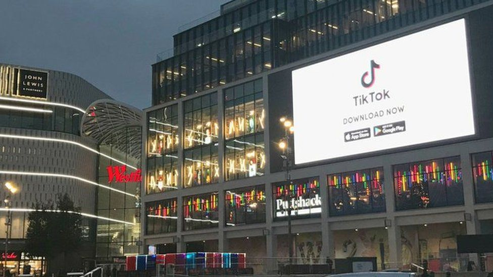 TikTok advert on Westfield shopping mall in west London