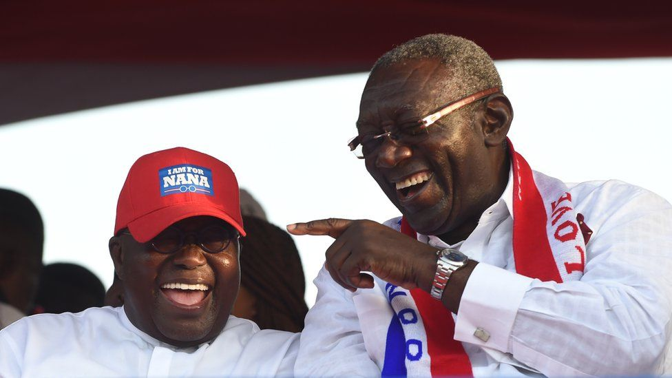 Ghanaian politicians Nana Addo Dankwa Akufo-Addo, the current president (L), and former President John Kufuor (R) - on the campaign trail
