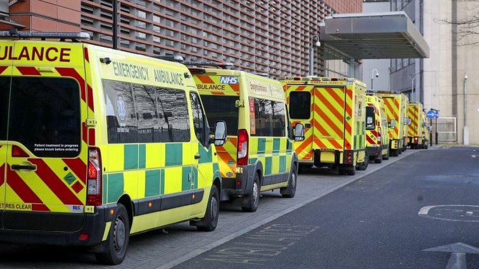 Ambulances outside the Royal London Hospital in London