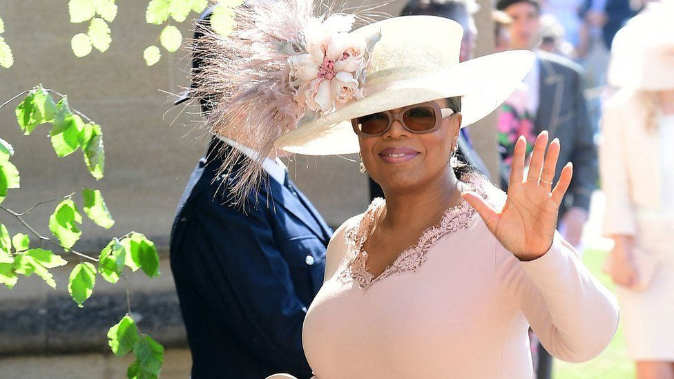 Oprah Winfrey arrives at the wedding of the Duke and Duchess of Sussex