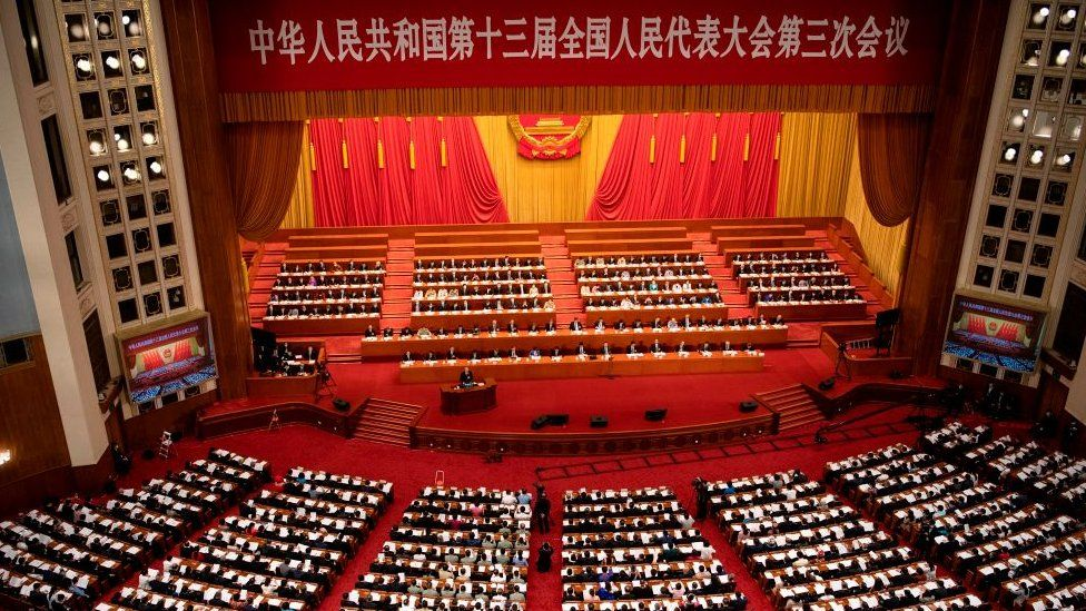 A general view shows the second plenary session of the National Peoples Congress (NPC)