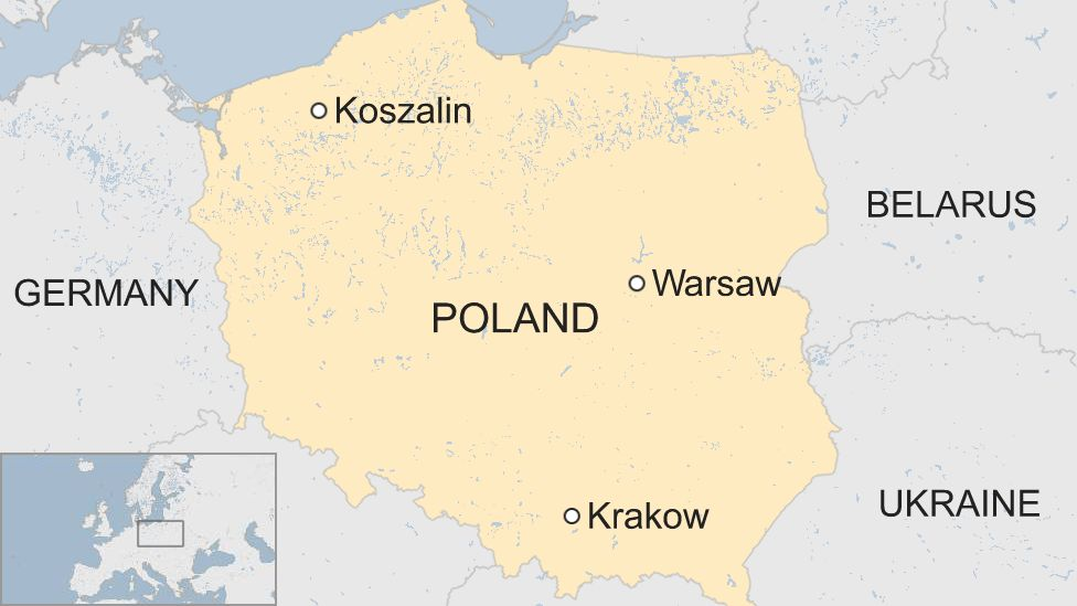 Map showing the city of Koszalin in Poland