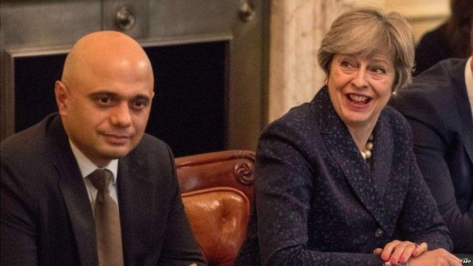 Sajid Javid and Theresa May