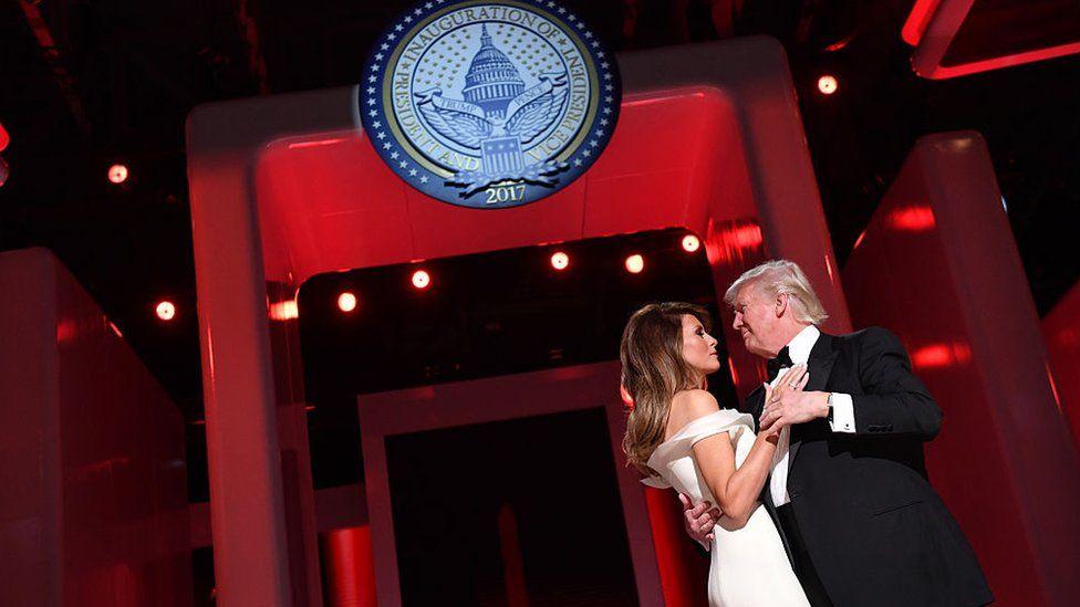 Donald Trump and Melania Trump at an inauguration ball