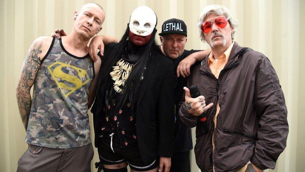 Sam Rivers, Wes Borland, DJ Lethal and Fred Durst of Limp Bizkit