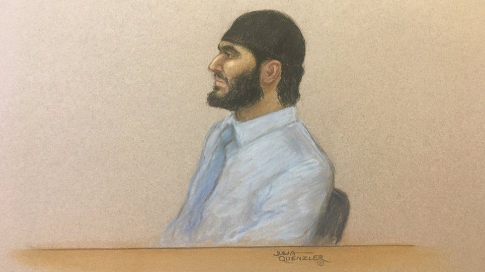 Court drawing (courtroom sketch) shows Mohiussunnath Chowdhury wearing a black head covering at Woolwich Crown Court on January 21st 2020.
