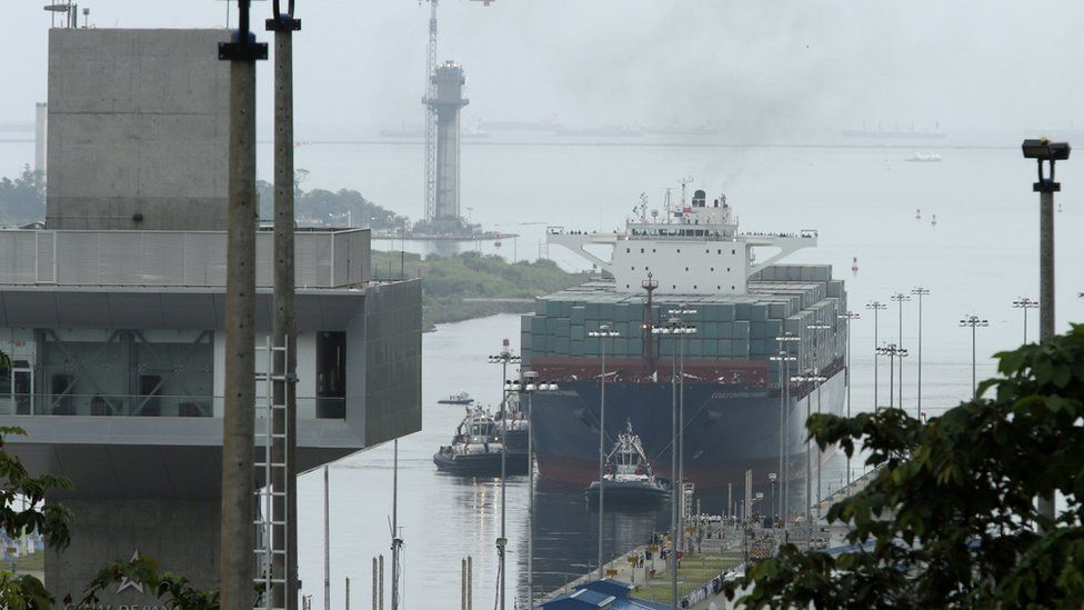 ship approaches new Agua Clara locks, part of the Panama Canal expansion project,