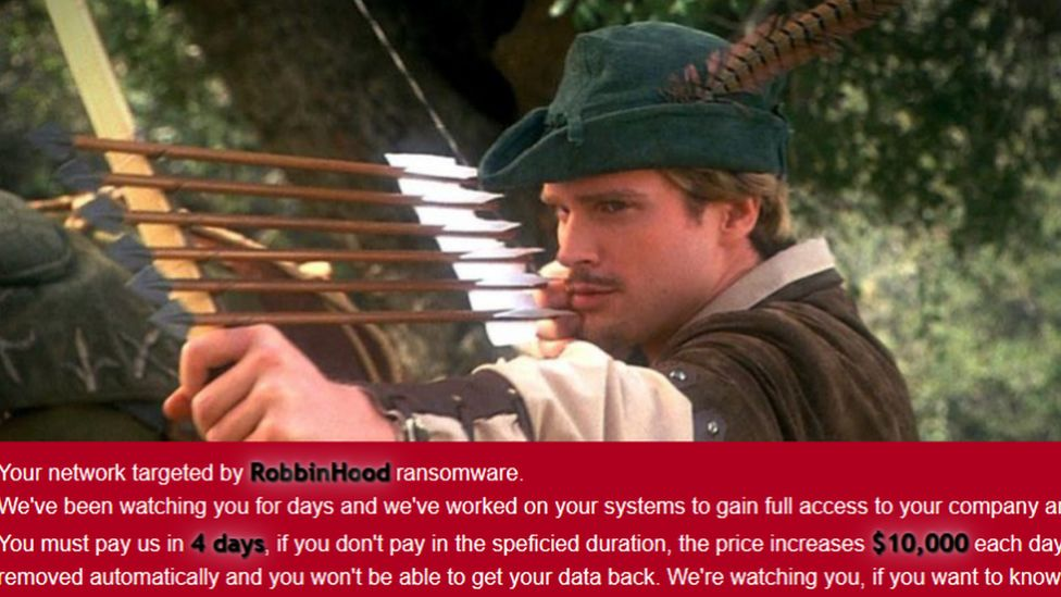 A screenshot of the RobbinHood ransomware