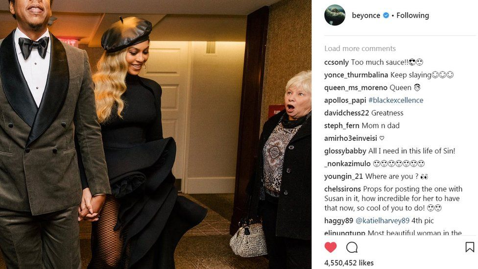 Beyonce and Susan Monaghan's Instagram photo