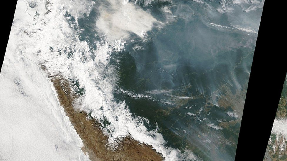 Satellite image of forest fires burning in the Amazon rainforest, Brazil. 14th August 201
