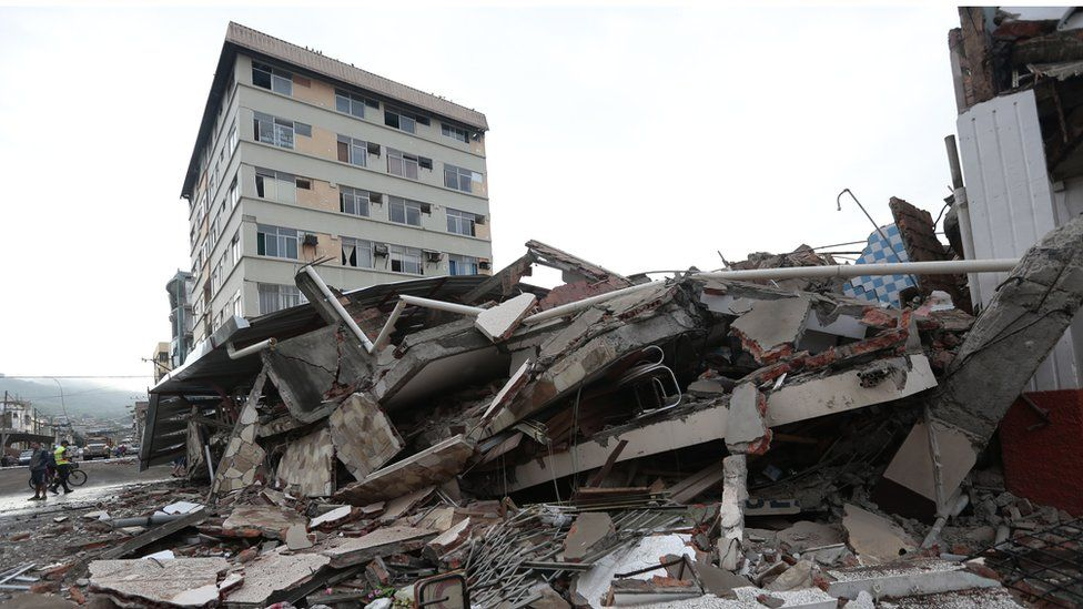 Piles of rubble after Ecuador's earthquake