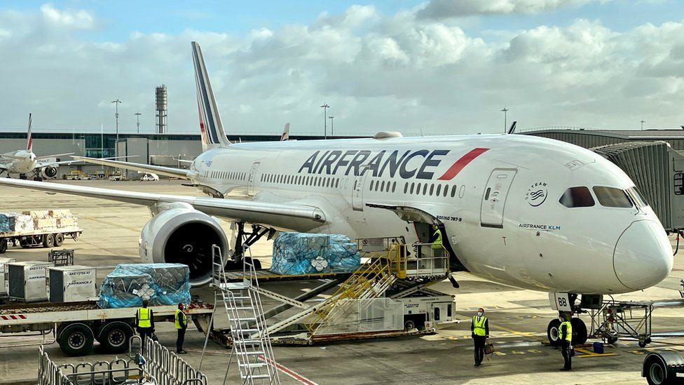 An Air France Boeing 787-9 Dreamliner prepares to depart from Charles De Gaulle International Airport (CDG) on November 19, 2020