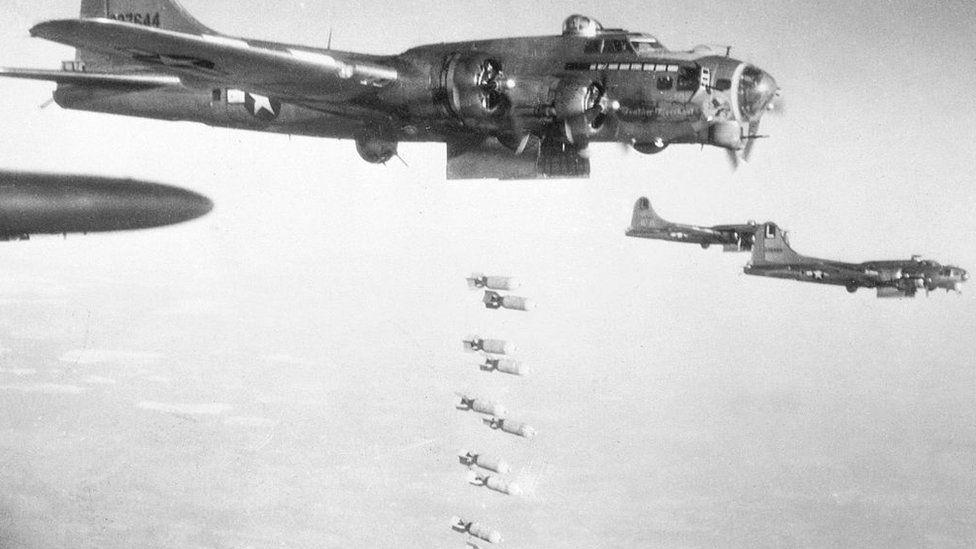 A B-17 bombing run over Nazi Germany on Christmas Eve, 1944
