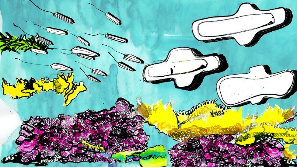 Illustration of underwater scene with tampons and pads