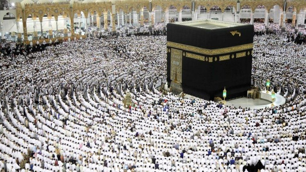 Muslim worshippers pray at the Kaaba at the Grand Mosque in Mecca. Photo: 23 June 2017