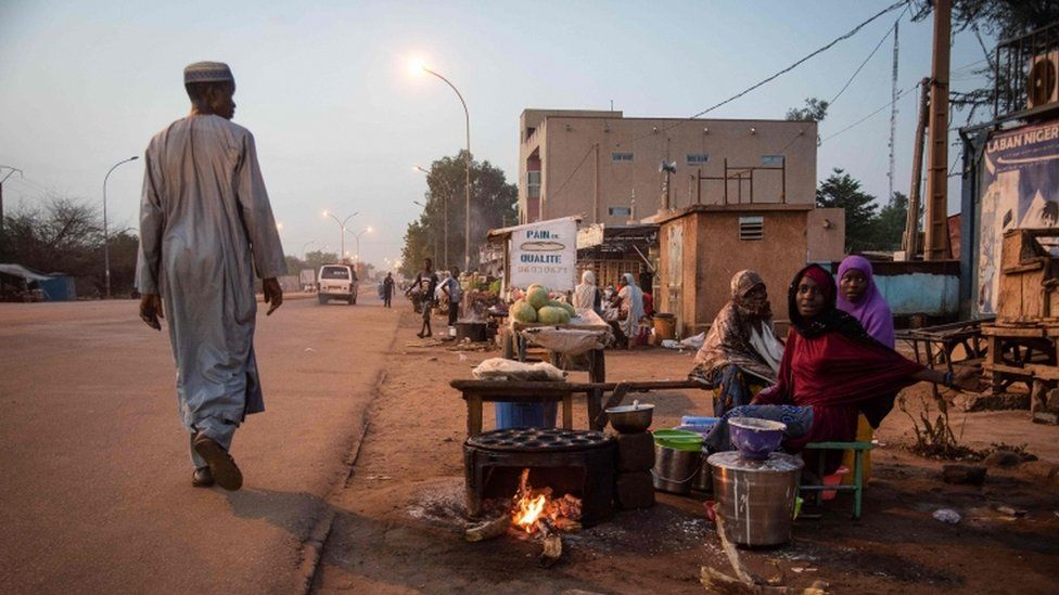 Street vendors sell food in Niger's capital Niamey