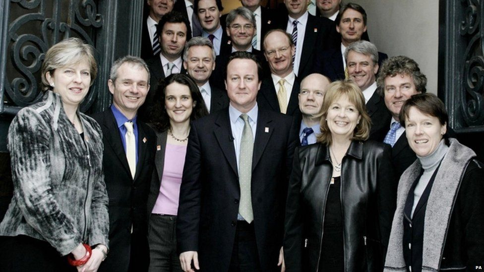 Theresa May and David Cameron's shadow cabinet in 2005
