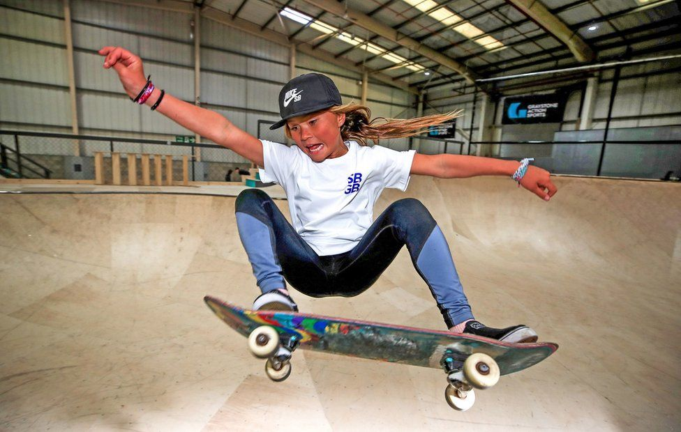 Sky Brown skateboarding