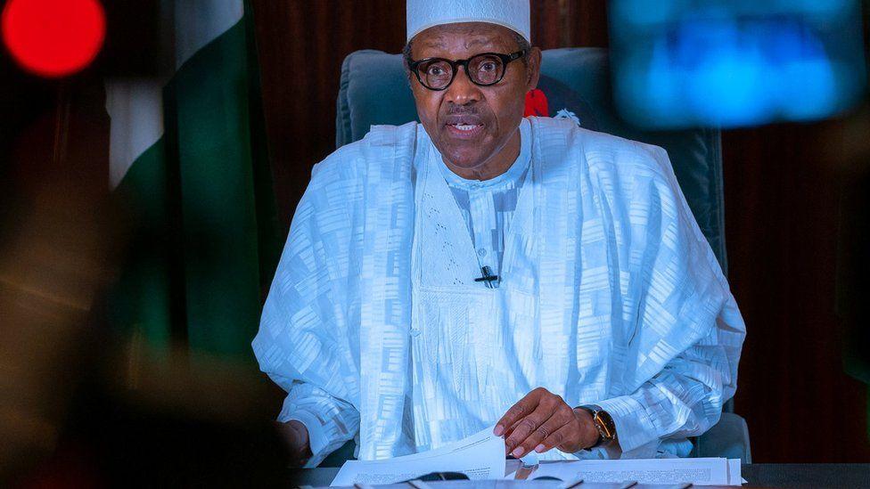 Nigerian President Muhammadu Buhari addresses the nation on 27 April 2020