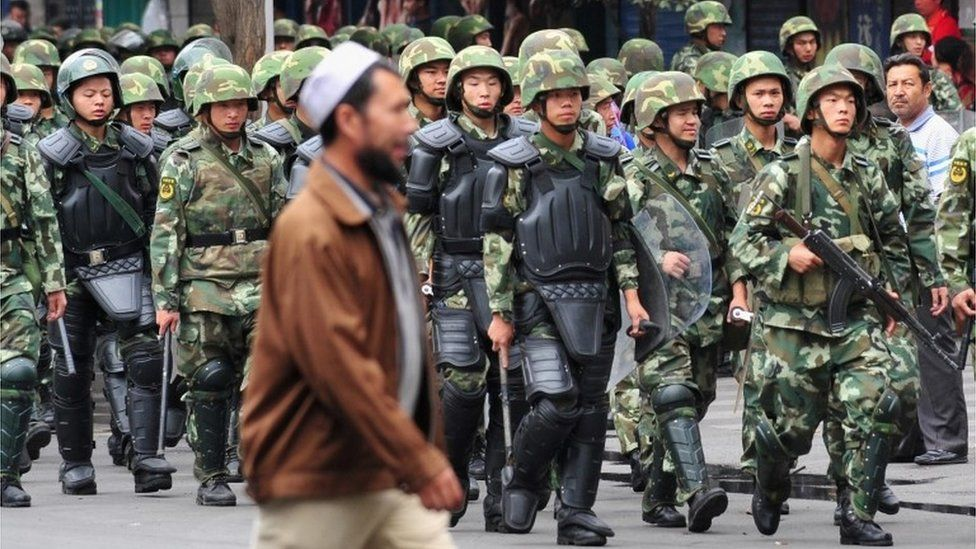 Chinese soldiers in Xinjiang province