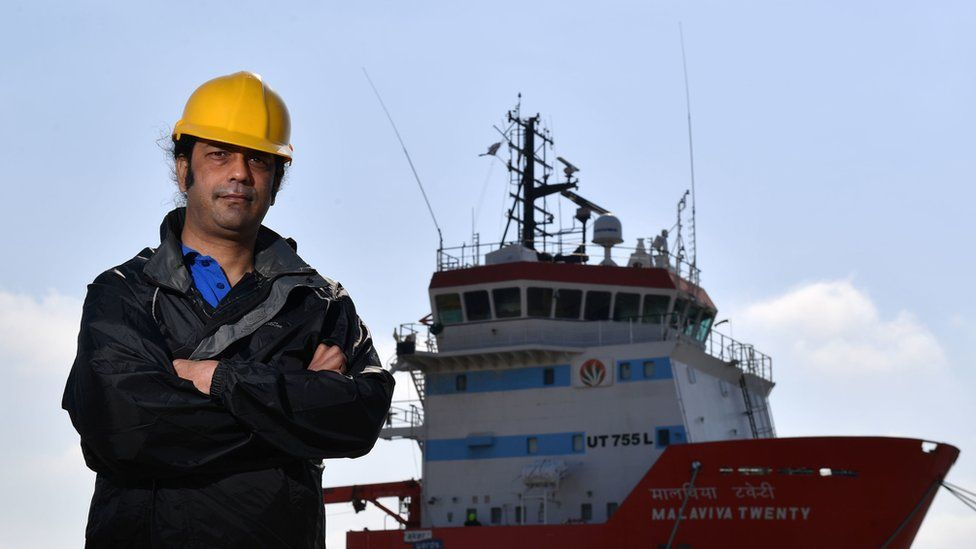 Captain Nikesh Rastogi, 43, from Mumbai, who has been stranded aboard the Indian supply vessel