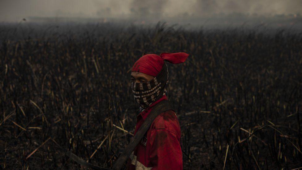 A firefighter in Ogan Ilir, South Sumatra, Indonesia