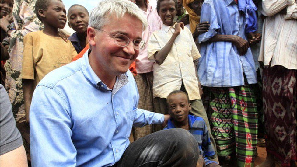 Former International Development Secretary, Andrew Mitchell at refugee camp in Somalia