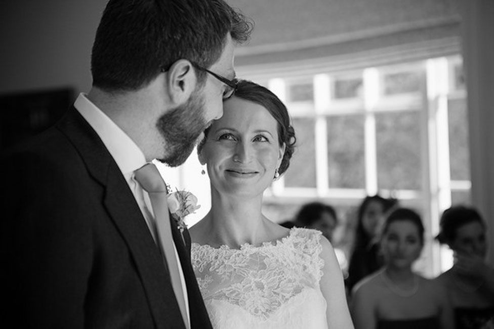 Ellie Finch Hulme and her husband Tom on their wedding day