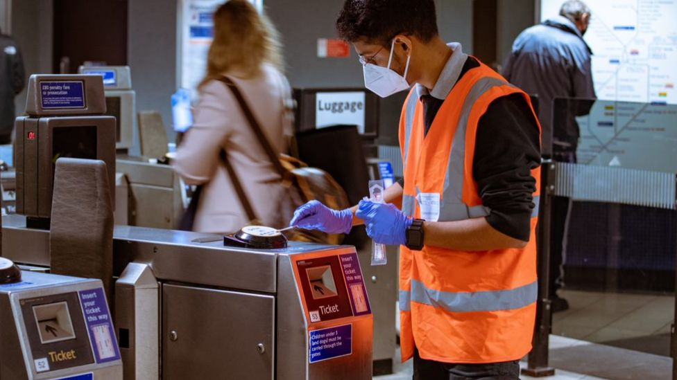 Scientist taking samples from the London underground network
